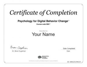 Certificate of Completion - DBC