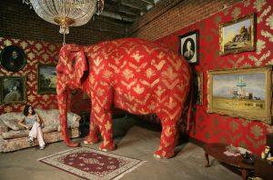 "Tai, Banksy's ""elephant in the room"". Photograph: Damian"